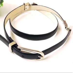 Ellen Tracy black leather belt silver hardware